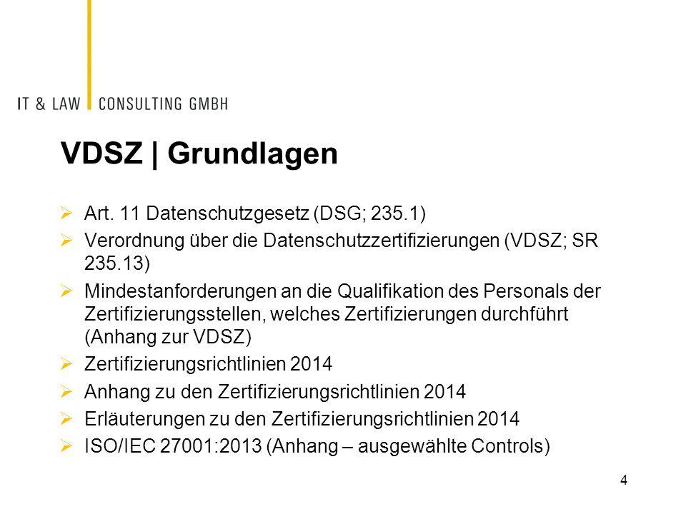 VDSZ | Grundlagen Art. 11 Datenschutzgesetz (DSG; 235.1)