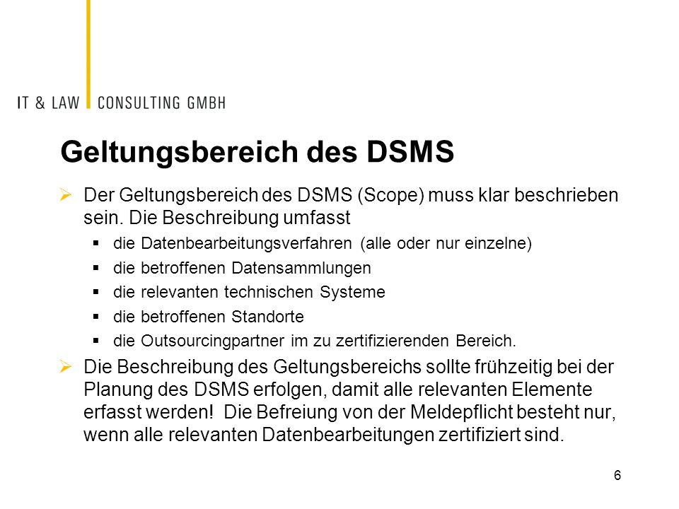 Geltungsbereich des DSMS