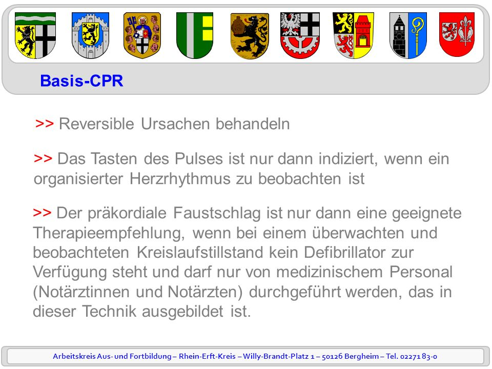 Basis-CPR >> Reversible Ursachen behandeln