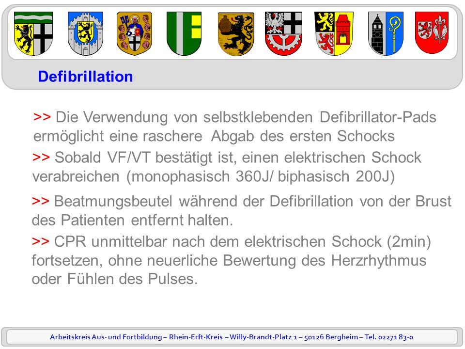 Defibrillation >> Die Verwendung von selbstklebenden Defibrillator-Pads. ermöglicht eine raschere Abgab des ersten Schocks.