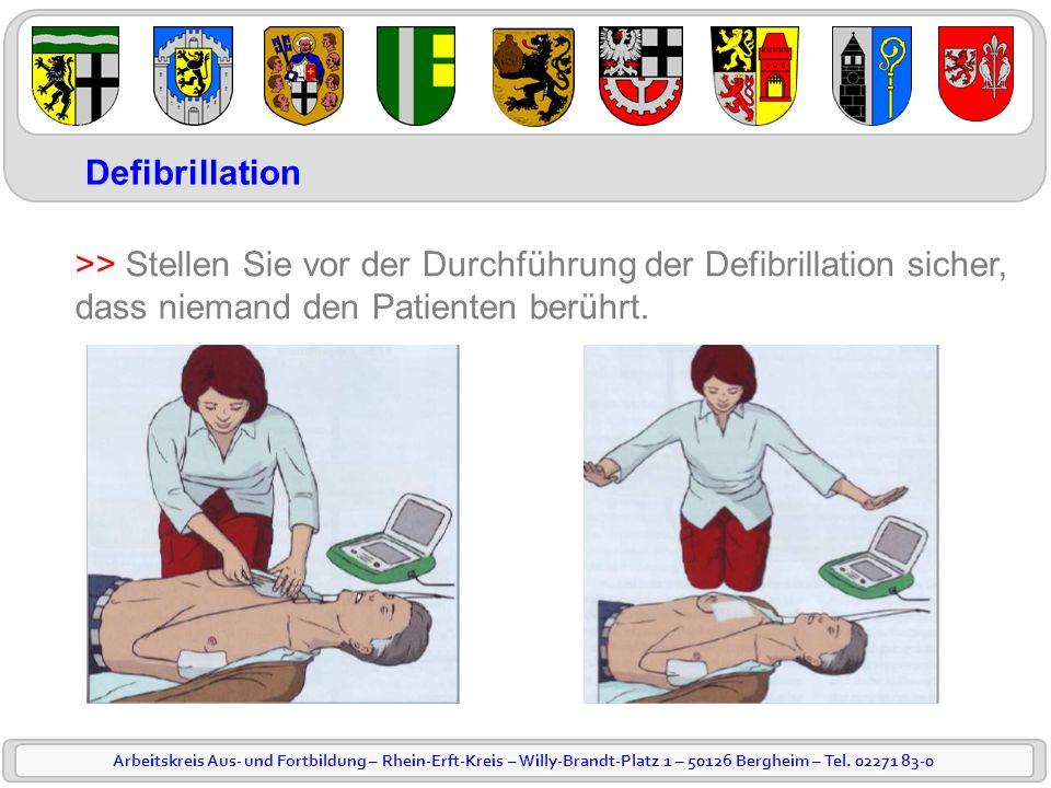 Defibrillation >> Stellen Sie vor der Durchführung der Defibrillation sicher, dass niemand den Patienten berührt.