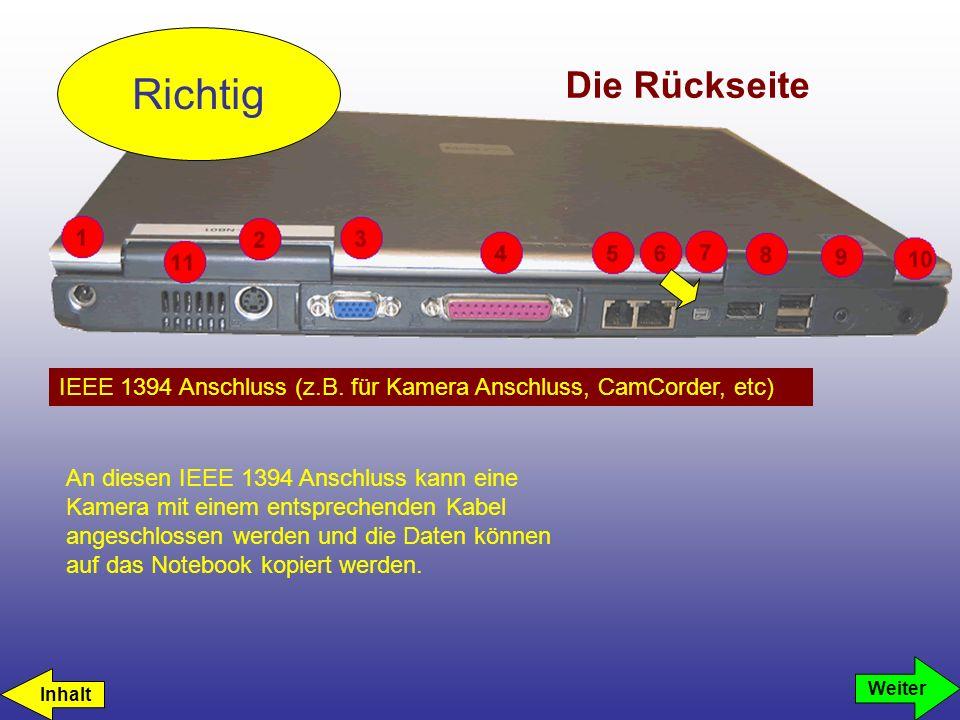 Richtig Die Rückseite. IEEE 1394 Anschluss (z.B. für Kamera Anschluss, CamCorder, etc)