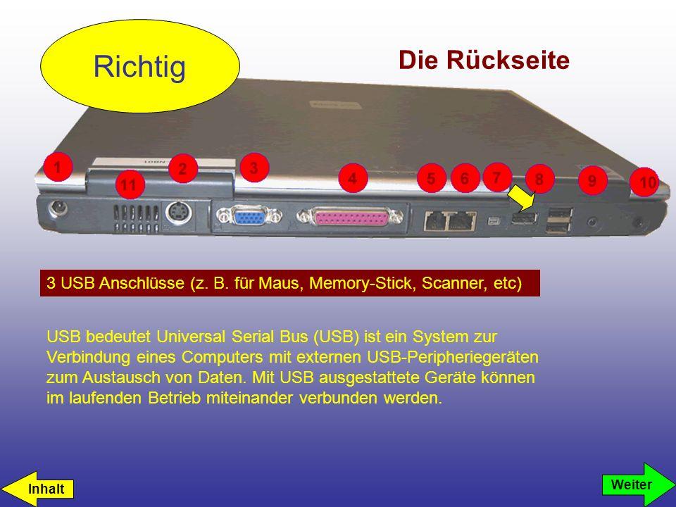 Richtig Die Rückseite. 3 USB Anschlüsse (z. B. für Maus, Memory-Stick, Scanner, etc)