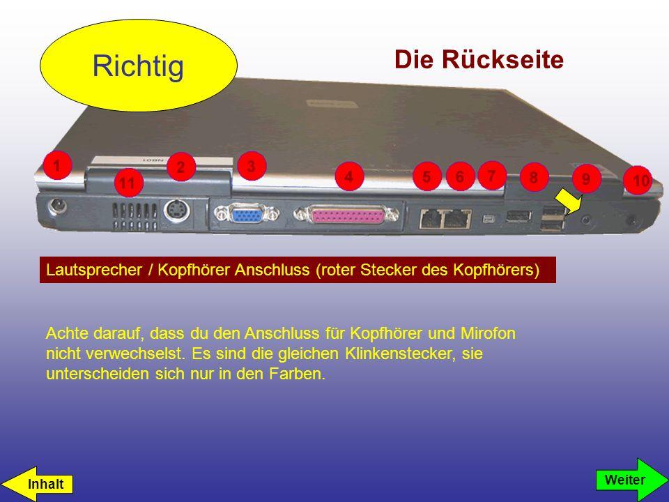Richtig Die Rückseite. Lautsprecher / Kopfhörer Anschluss (roter Stecker des Kopfhörers)