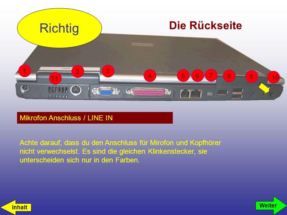 Richtig Die Rückseite Mikrofon Anschluss / LINE IN