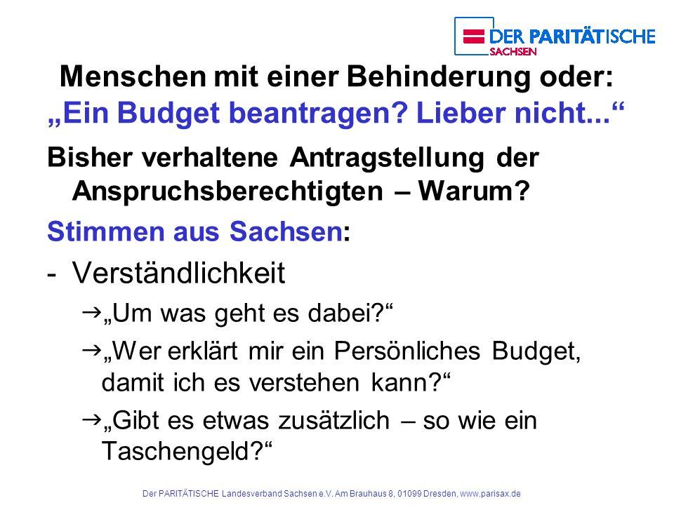 """Menschen mit einer Behinderung oder: """"Ein Budget beantragen"""