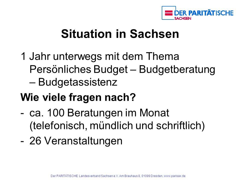 Situation in Sachsen 1 Jahr unterwegs mit dem Thema Persönliches Budget – Budgetberatung – Budgetassistenz.