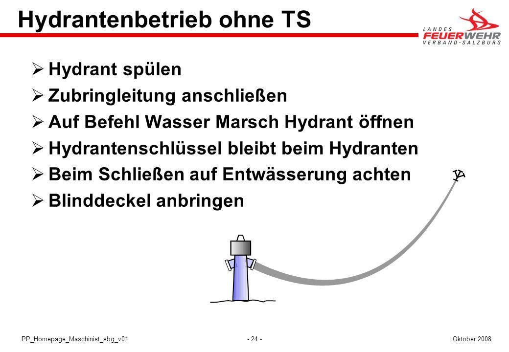 Hydrantenbetrieb ohne TS