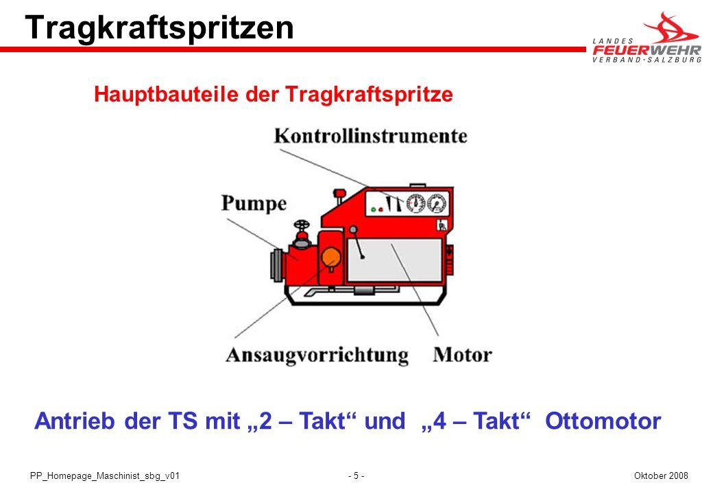 """Tragkraftspritzen Hauptbauteile der Tragkraftspritze. Antrieb der TS mit """"2 – Takt und """"4 – Takt Ottomotor."""