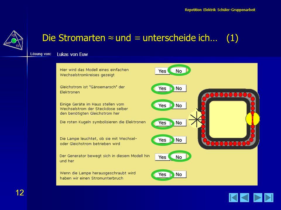 Die Stromarten ≈ und = unterscheide ich… (1)