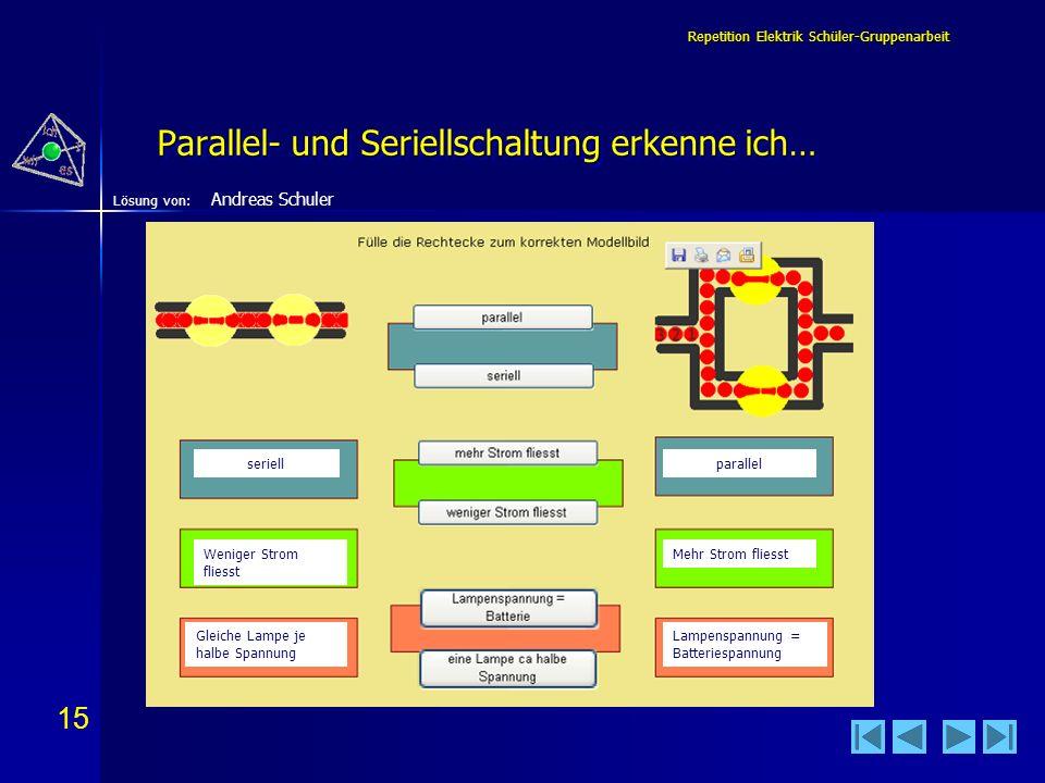 Parallel- und Seriellschaltung erkenne ich…