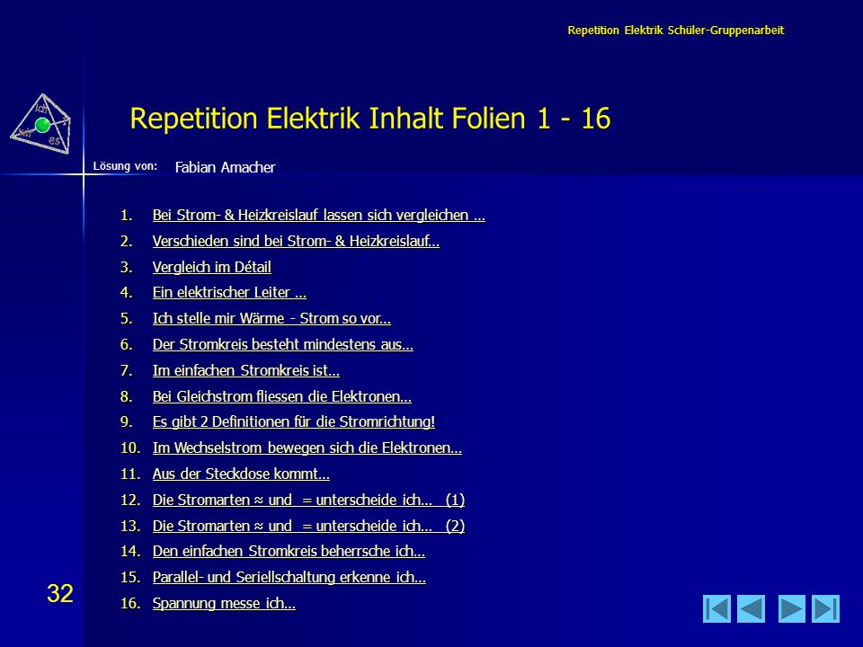 Repetition Elektrik Inhalt Folien 1 - 16