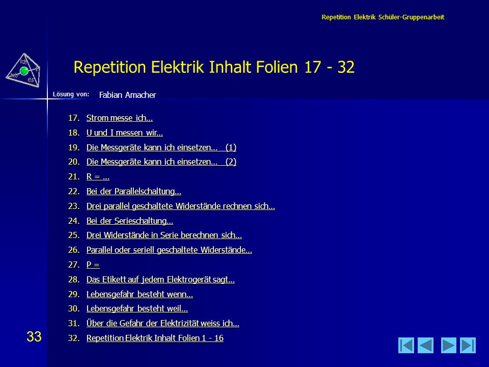 Repetition Elektrik Inhalt Folien 17 - 32