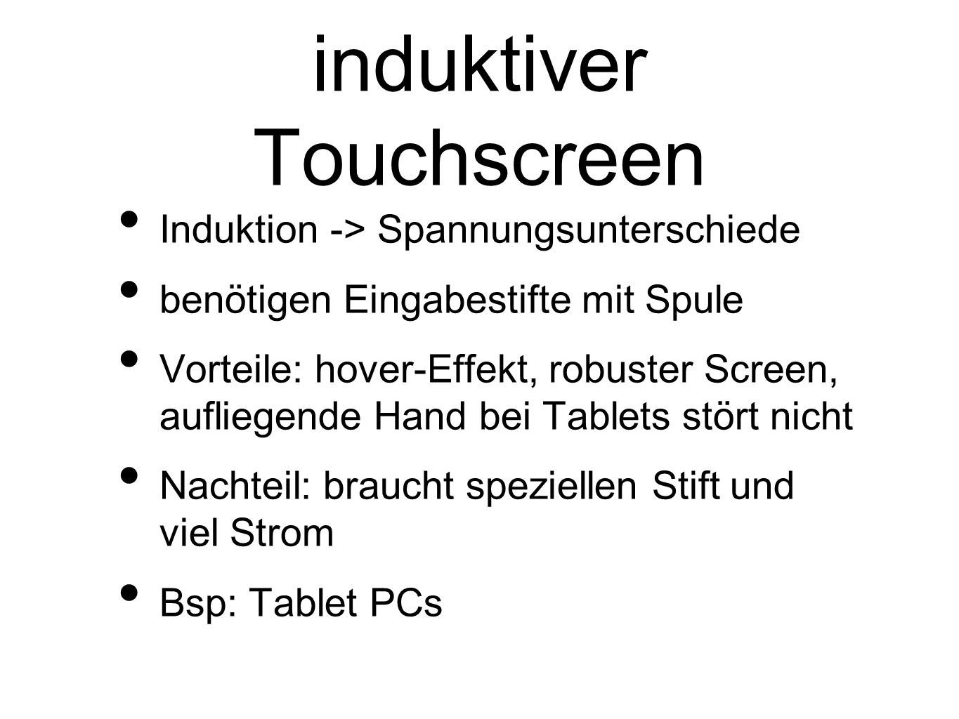 induktiver Touchscreen