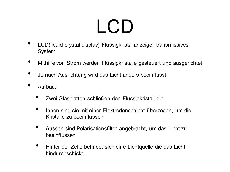 LCD LCD(liquid crystal display) Flüssigkristallanzeige, transmissives System.