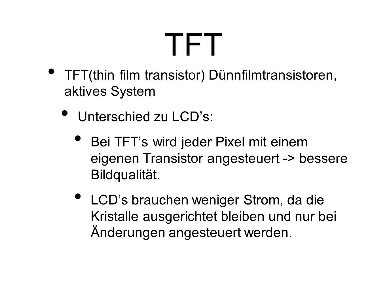 TFT TFT(thin film transistor) Dünnfilmtransistoren, aktives System