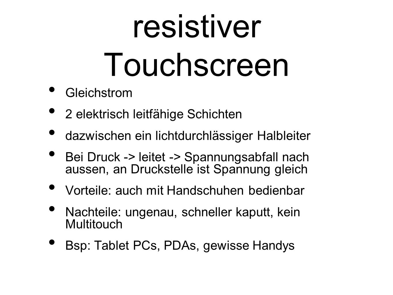 resistiver Touchscreen