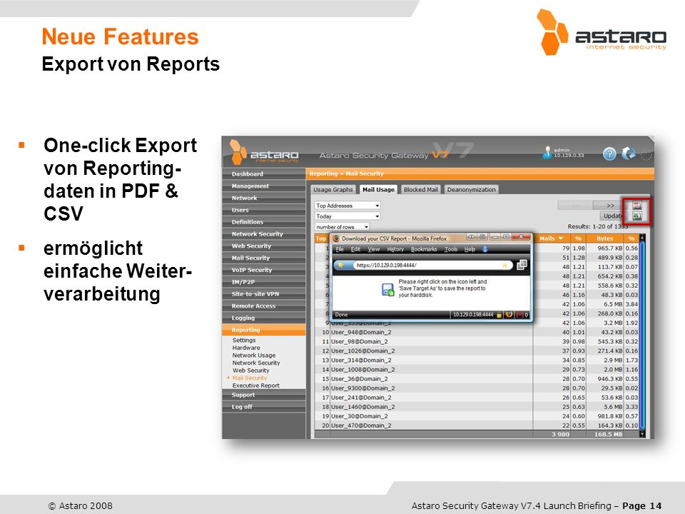 Neue Features Export von Reports