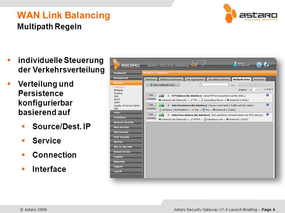 WAN Link Balancing Multipath Regeln