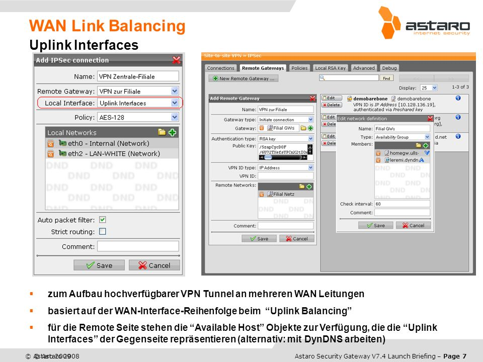 WAN Link Balancing Uplink Interfaces