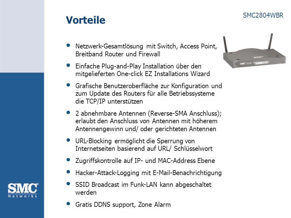 Vorteile Netzwerk-Gesamtlösung mit Switch, Access Point, Breitband Router und Firewall.