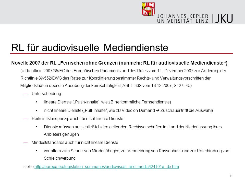 RL für audiovisuelle Mediendienste