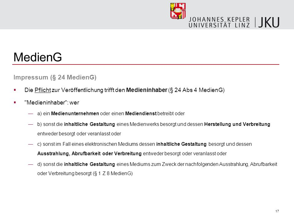 MedienG Impressum (§ 24 MedienG)