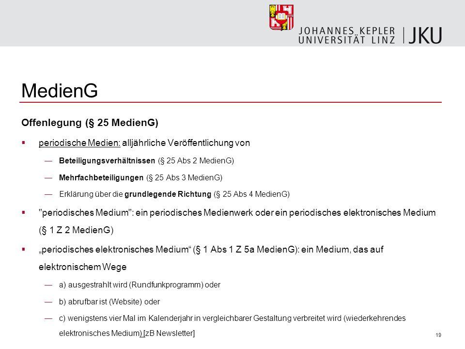 MedienG Offenlegung (§ 25 MedienG)
