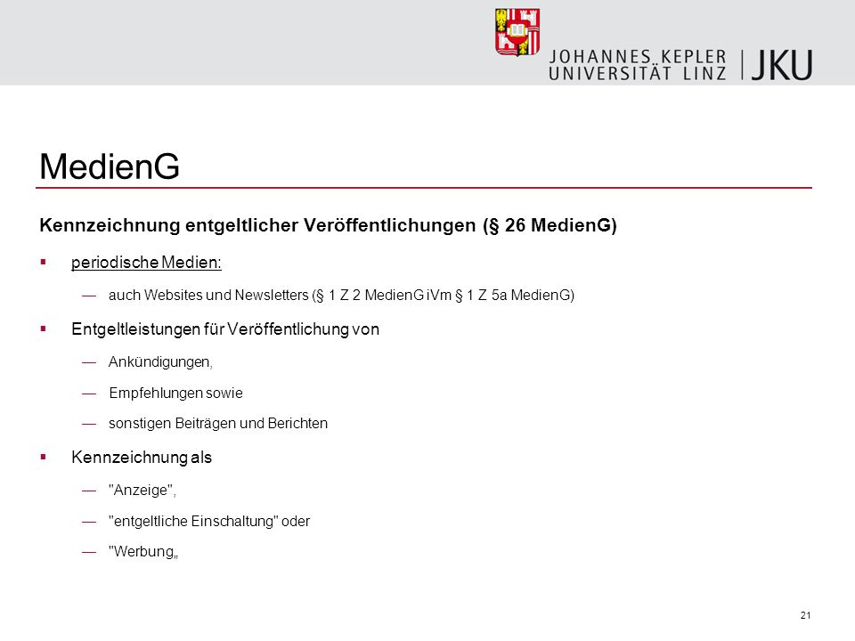 MedienG Kennzeichnung entgeltlicher Veröffentlichungen (§ 26 MedienG)