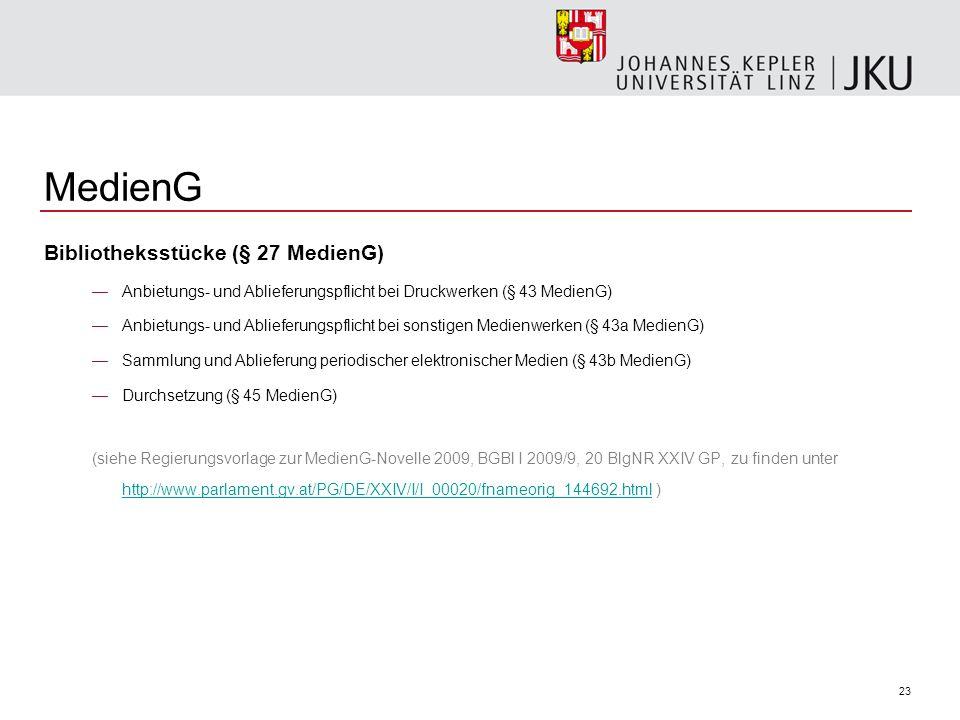 MedienG Bibliotheksstücke (§ 27 MedienG)