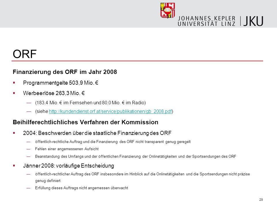 ORF Finanzierung des ORF im Jahr 2008