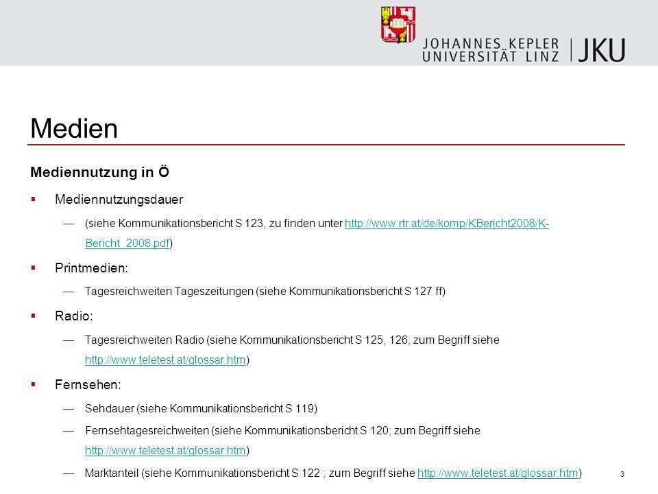Medien Mediennutzung in Ö Mediennutzungsdauer Printmedien: Radio: