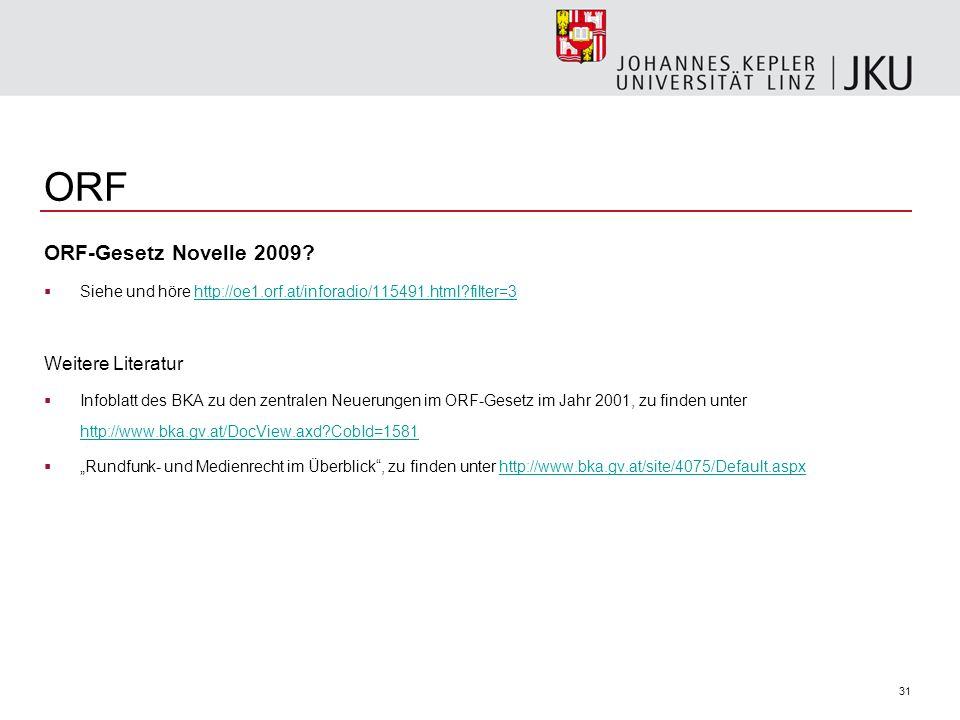 ORF ORF-Gesetz Novelle 2009 Weitere Literatur