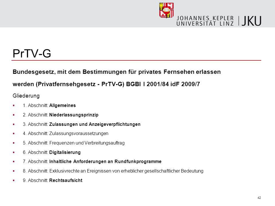 PrTV-G Bundesgesetz, mit dem Bestimmungen für privates Fernsehen erlassen. werden (Privatfernsehgesetz - PrTV-G) BGBl I 2001/84 idF 2009/7.