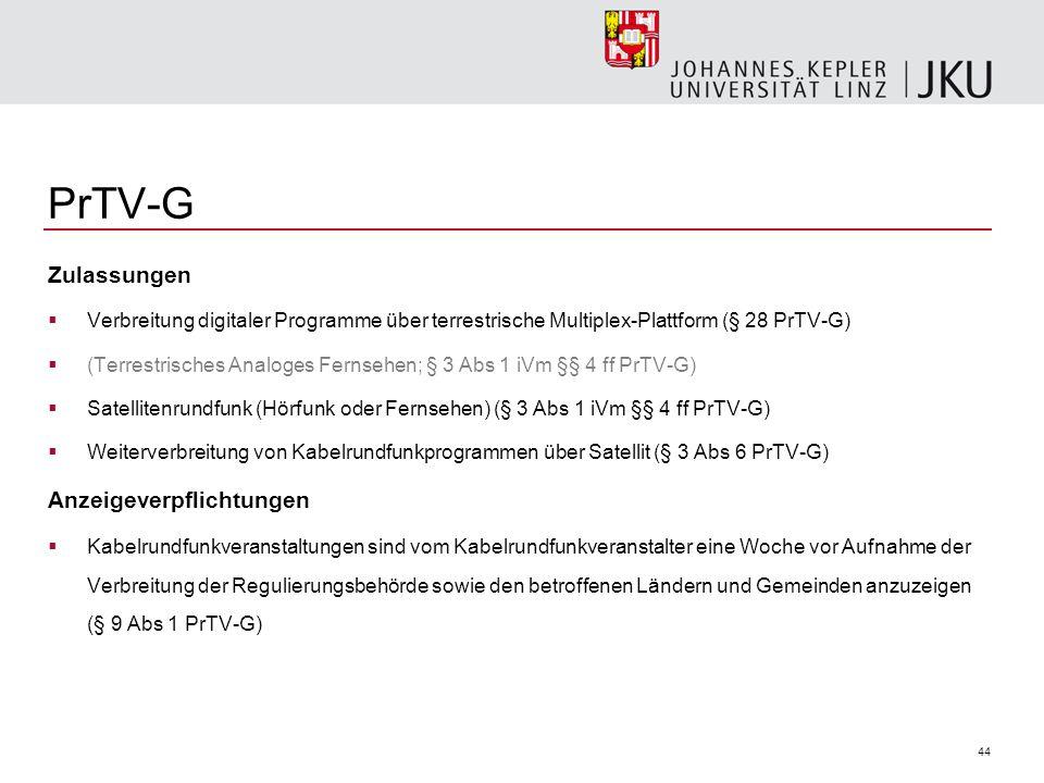 PrTV-G Zulassungen Anzeigeverpflichtungen