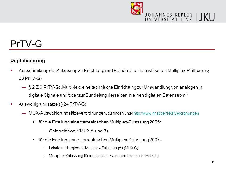PrTV-G Digitalisierung