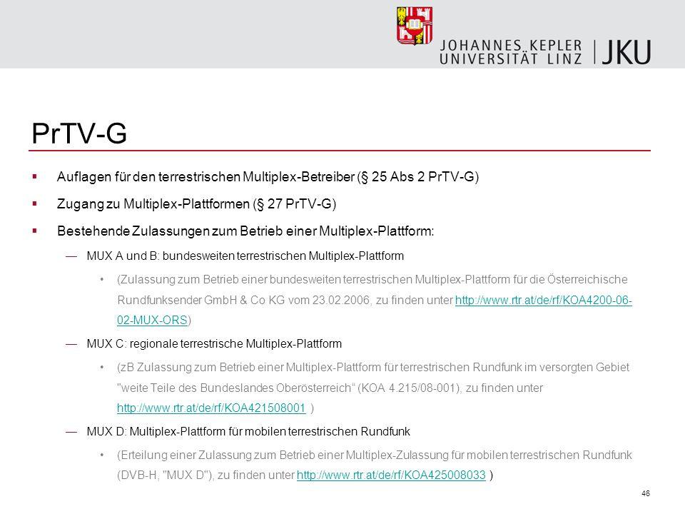 PrTV-G Auflagen für den terrestrischen Multiplex-Betreiber (§ 25 Abs 2 PrTV-G) Zugang zu Multiplex-Plattformen (§ 27 PrTV-G)