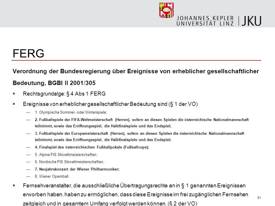 FERG Verordnung der Bundesregierung über Ereignisse von erheblicher gesellschaftlicher. Bedeutung, BGBl II 2001/305.