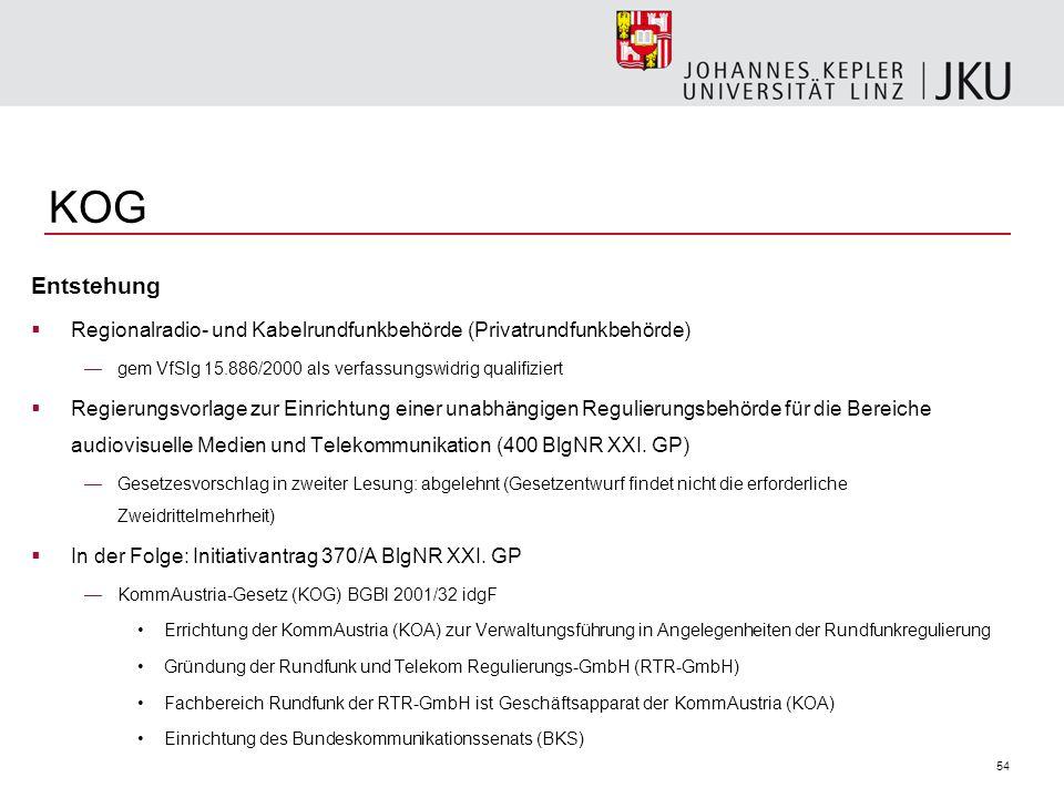 KOG Entstehung. Regionalradio- und Kabelrundfunkbehörde (Privatrundfunkbehörde) gem VfSlg 15.886/2000 als verfassungswidrig qualifiziert.
