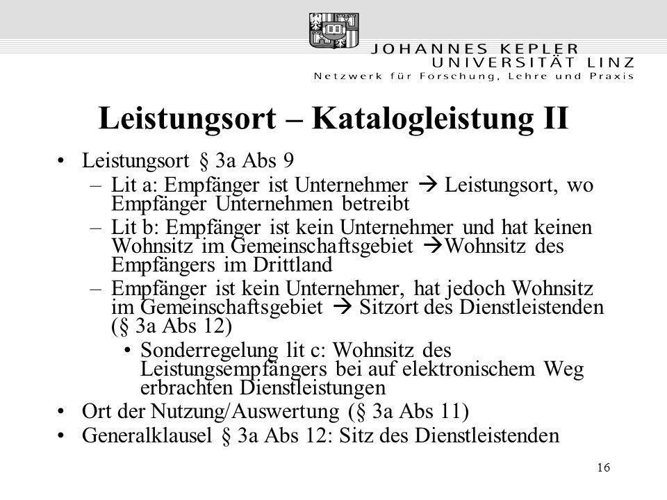 Leistungsort – Katalogleistung II