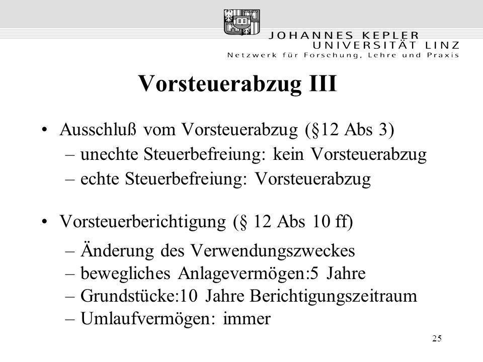Vorsteuerabzug III Ausschluß vom Vorsteuerabzug (§12 Abs 3)
