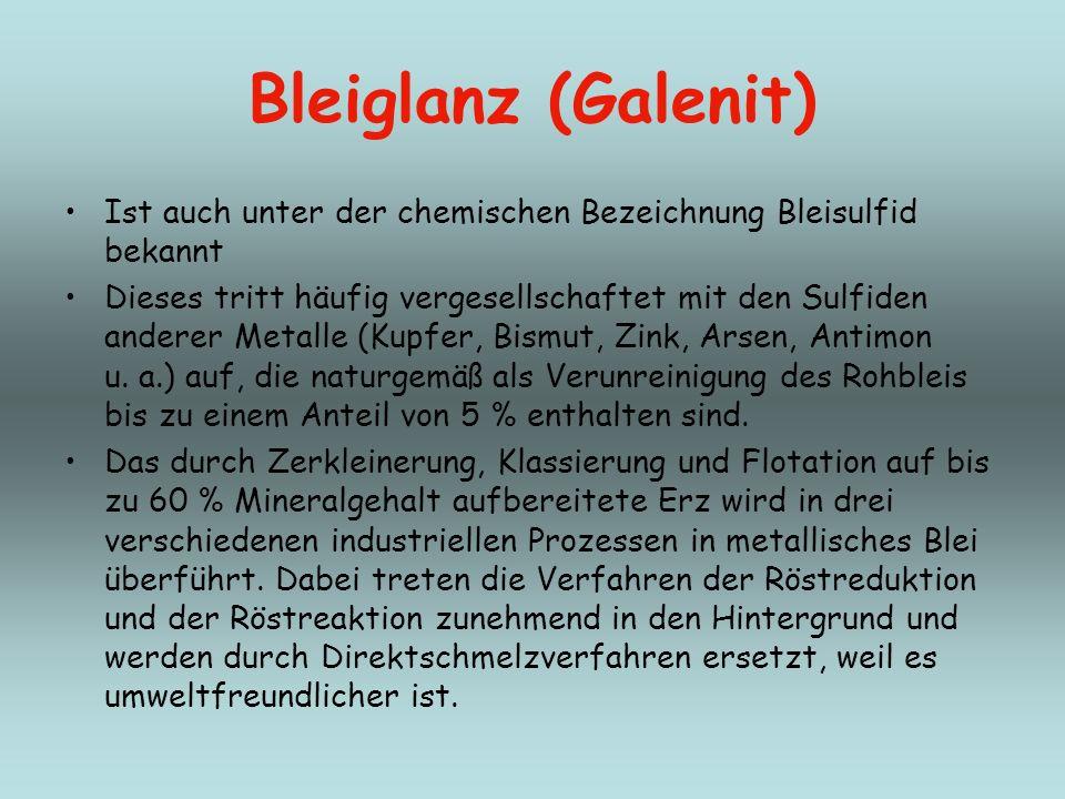 Bleiglanz (Galenit) Ist auch unter der chemischen Bezeichnung Bleisulfid bekannt.
