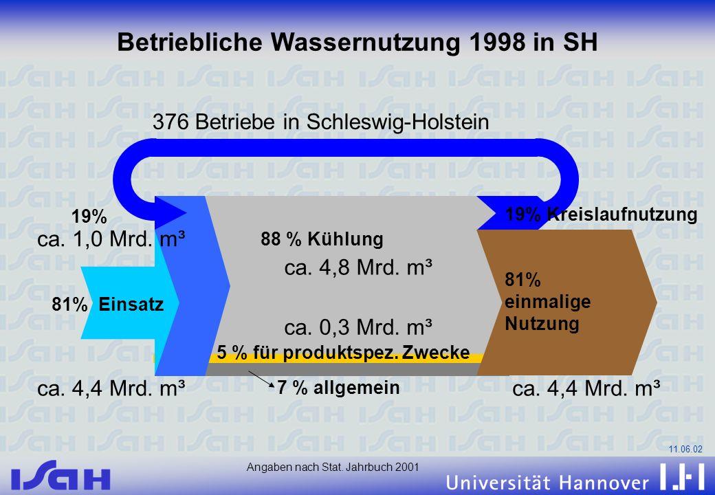 Betriebliche Wassernutzung 1998 in SH