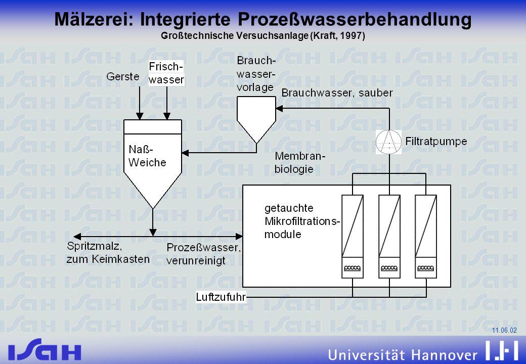 Mälzerei: Integrierte Prozeßwasserbehandlung Großtechnische Versuchsanlage (Kraft, 1997)