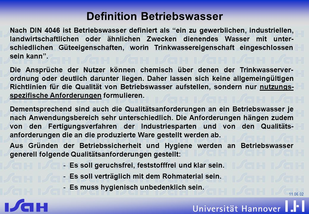 Definition Betriebswasser
