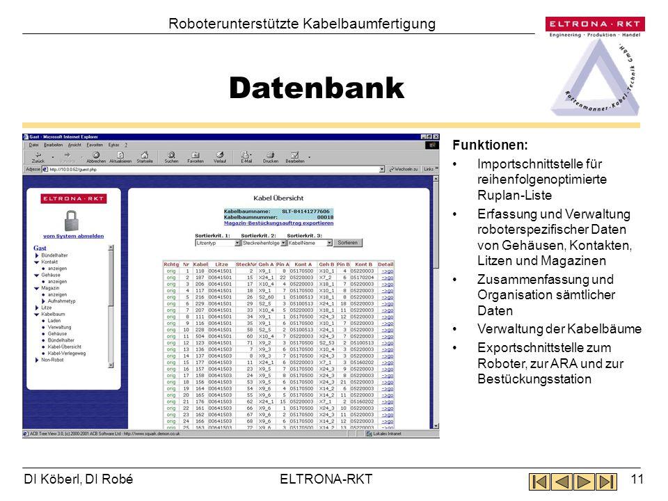 Datenbank Roboterunterstützte Kabelbaumfertigung Funktionen:
