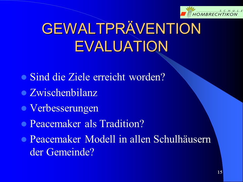GEWALTPRÄVENTION EVALUATION