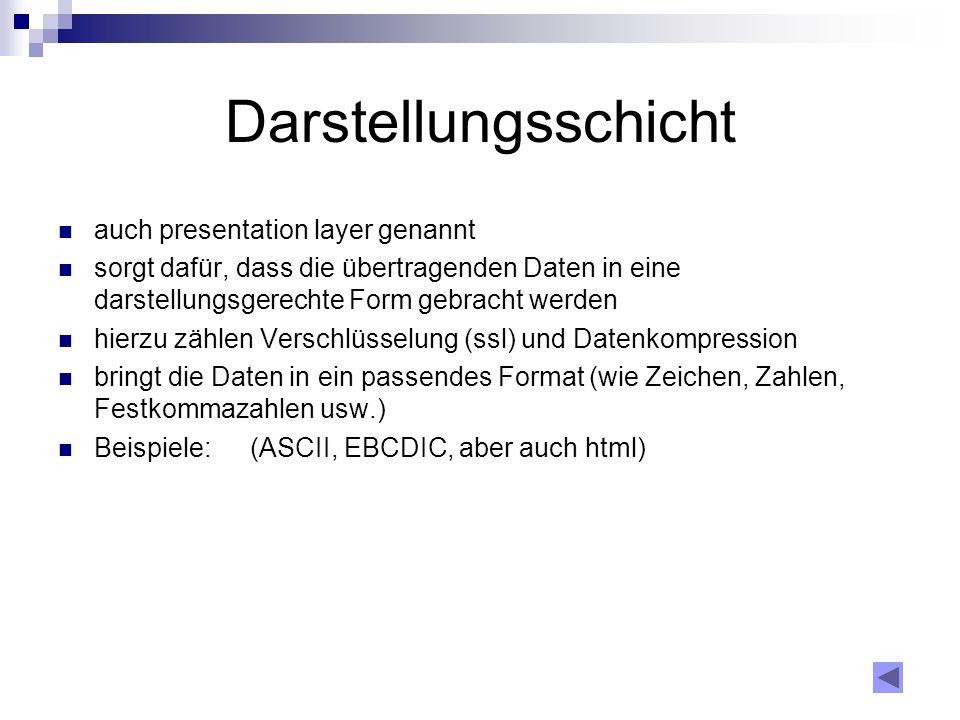 Darstellungsschicht auch presentation layer genannt
