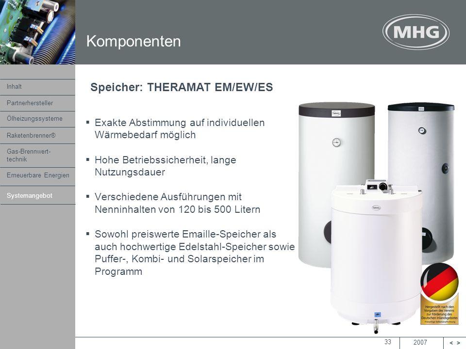 Komponenten Speicher: THERAMAT EM/EW/ES