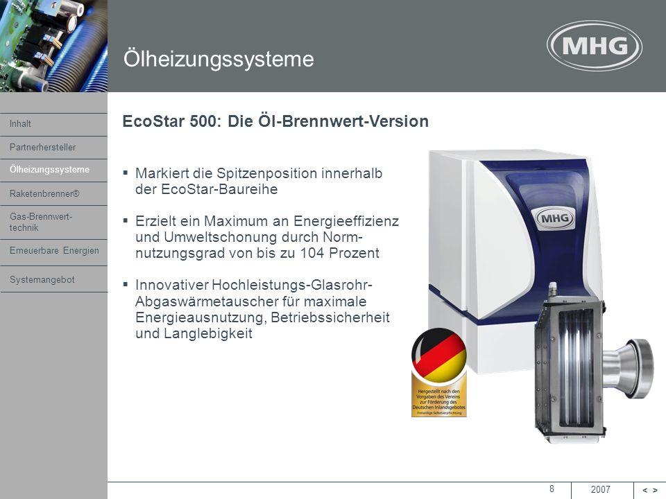 Ölheizungssysteme EcoStar 500: Die Öl-Brennwert-Version